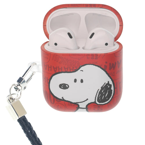 Peanuts AirPods Case Neck Lanyard Hard PC Shell Strap Hole Cover - Words Snoopy