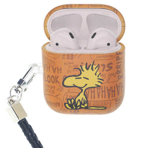 Peanuts AirPods Case Neck Lanyard Hard PC Shell Strap Hole Cover - Words Woodstock