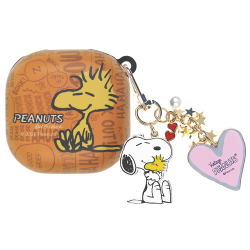 Peanuts Galaxy Buds Live Case (2020) Snoopy Key Ring Keychain Key Holder Hard PC Shell Cover - Words Woodstock