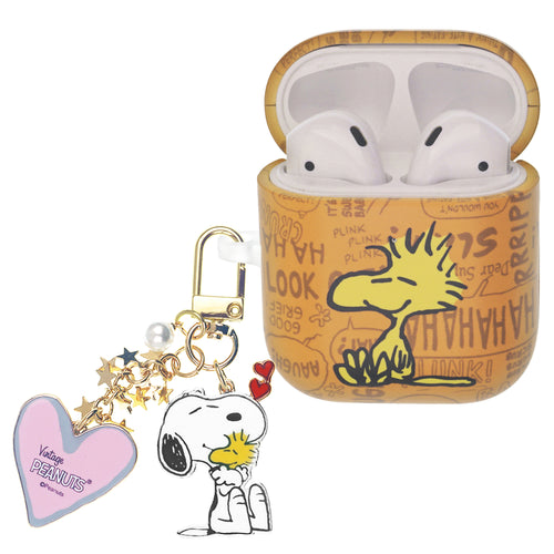 Peanuts AirPods Case Snoopy Key Ring Keychain Key Holder Hard PC Shell Strap Hole Cover - Words Woodstock