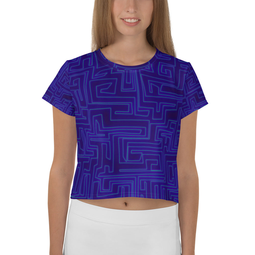 Labyrinth All-Over Print Crop Tee
