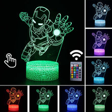 Load image into Gallery viewer, Iron Man Anime Figure Acrylic 3D Illusion LED Lamp USB Colourful