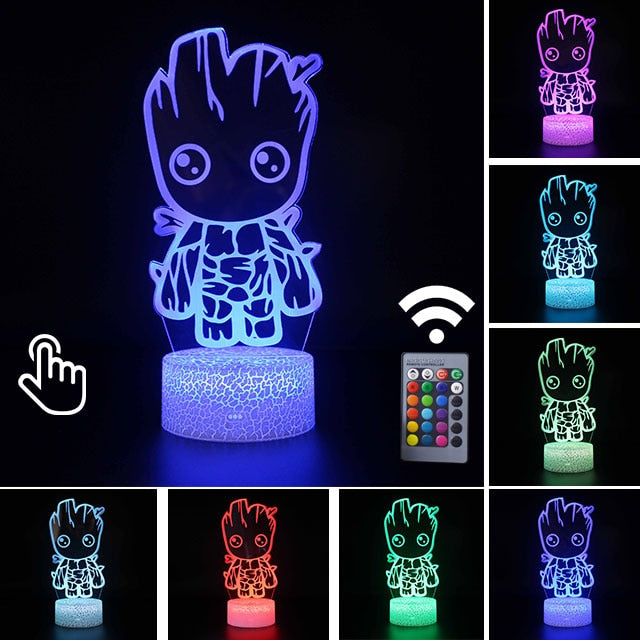 Marvel Avengers Groot Anime 3D LED Lamp