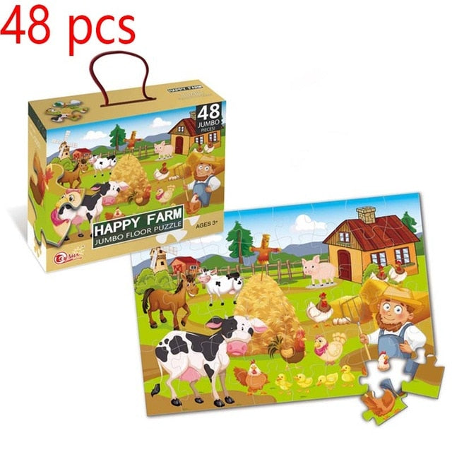 Cartoon Jigsaw Puzzle 35/45/48/100/180 Piece Montessori Educational Toys Big Box Puzzles For Kids