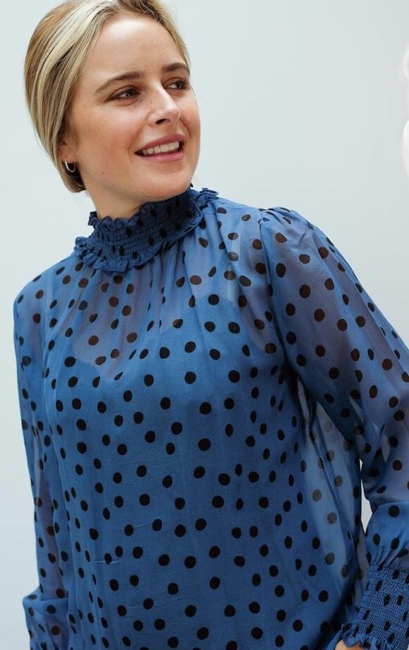 Primrose Park Dotty Blue Top