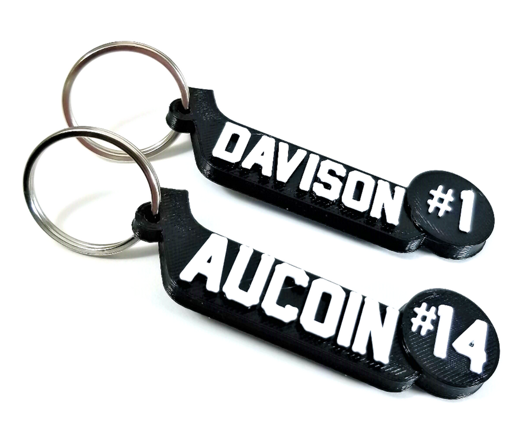Custom hockey player keychain