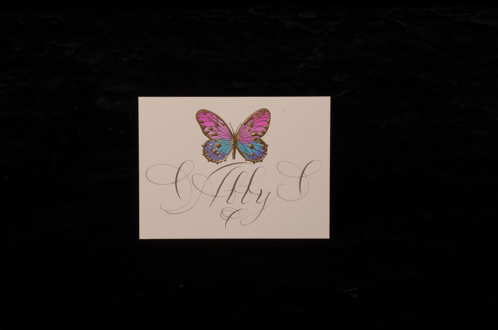 Envelopes & Placecards; title: Hand-painted Butterfly Place Card