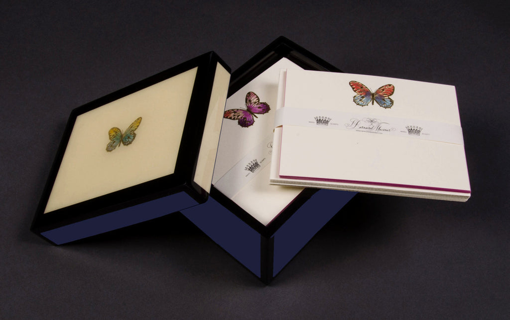Butterfly Hand Painted Lacquer Stationery Box with 15 cards and envelopes