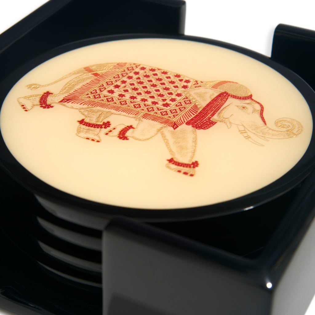 Elephant Lacquer Coasters  |  Set of 4
