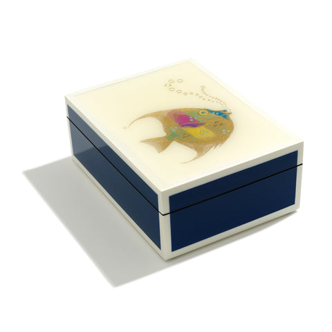 Fish With Bubbles Hand-painted Lacquer Box