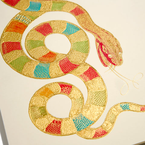 Snake Hand-painted Grand Statement Card