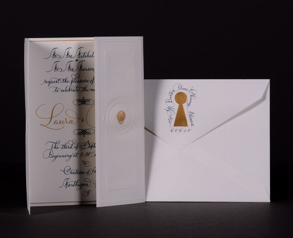 Invitations; title: Laura & Rod Invitation and Addressing