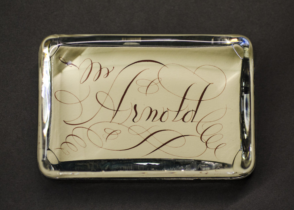 Name on Cream in Large Rectangle Paperweight