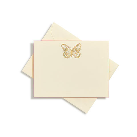 Butterfly in center Gold Notecards | Set of 10