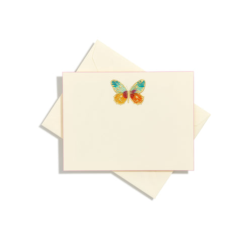 Butterfly Centered Hand-Painted Notecard | Set of 8