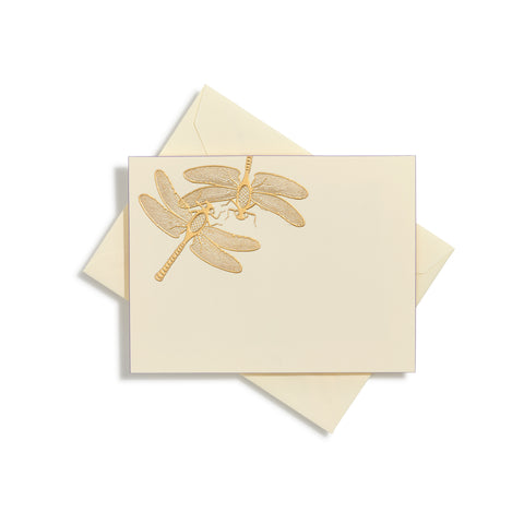 Dragonfly Pair Gold Notecards | Set of 10