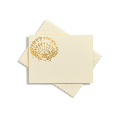 Scallop Shells Gold Notecards | Set of 10