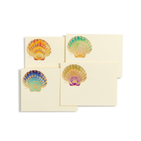 Scallop Shells Hand-painted Notecards | Set of 8