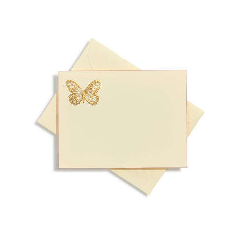Butterfly in corner Gold Notecards | Set of 10