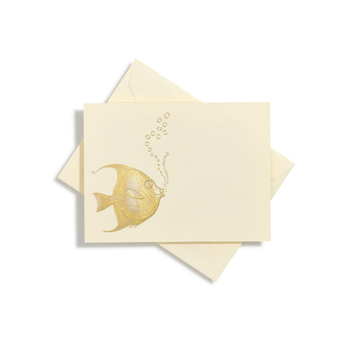 Fish With Bubbles Gold Notecards | Set of 10