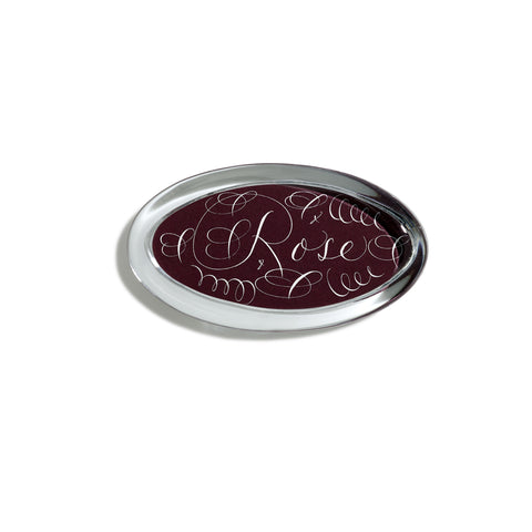 Customized Maroon Oval Paperweight