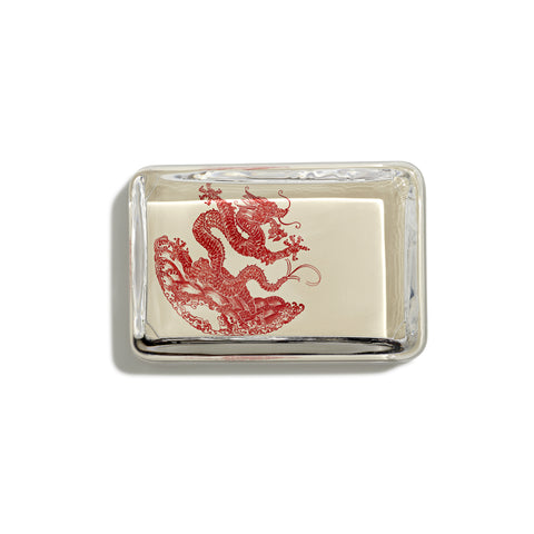 Dragon Red Rectangular Paperweight