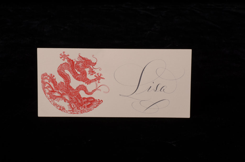 Envelopes & Placecards; title: Red Dragon Place Card