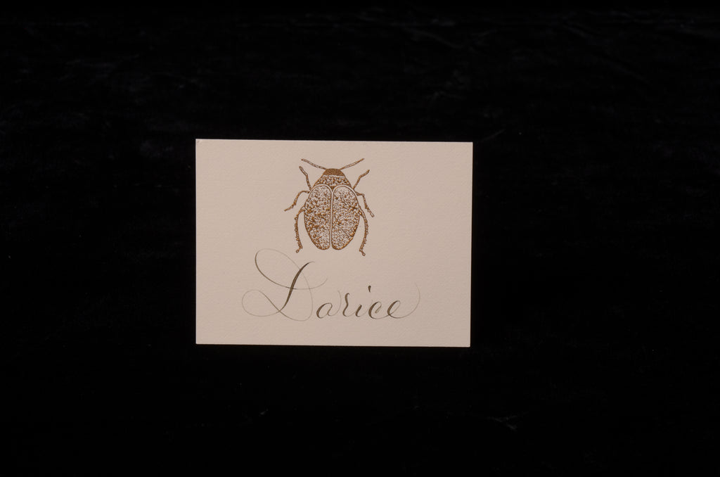 Envelopes & Placecards; title: Scarab Gold Place Card