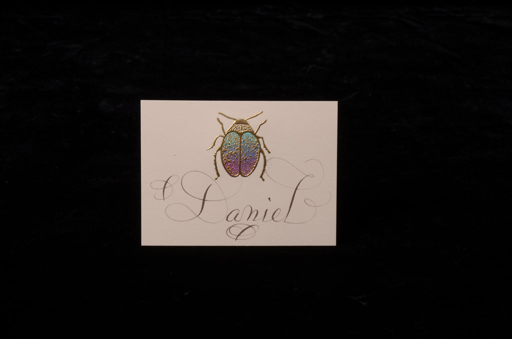 Envelopes & Placecards; title: Scarab Place Card