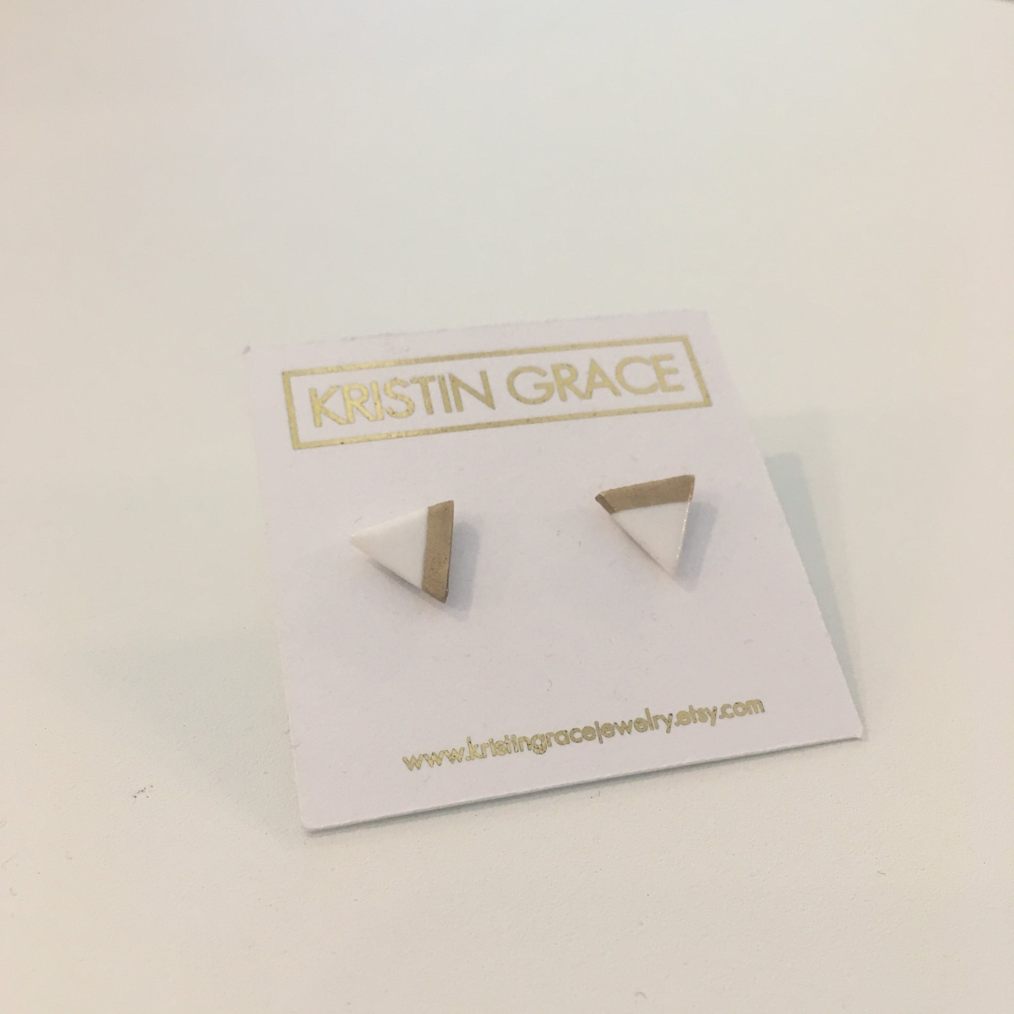 Clay Triangle Studs by Kristin Grace