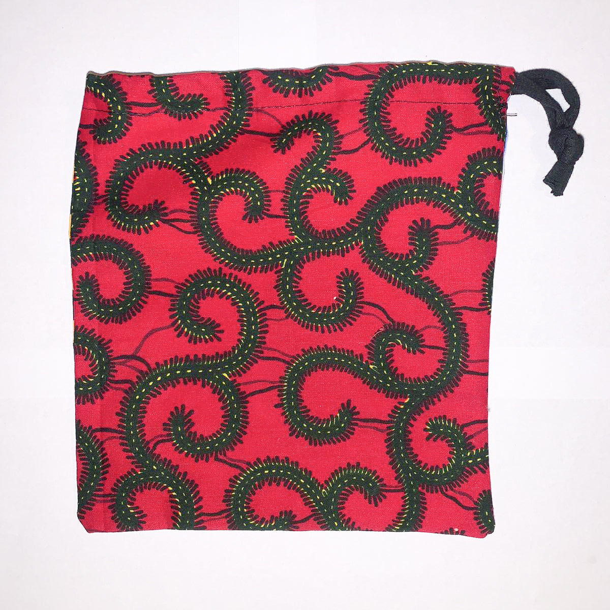 Drawstring bag - zig zag / red swirls