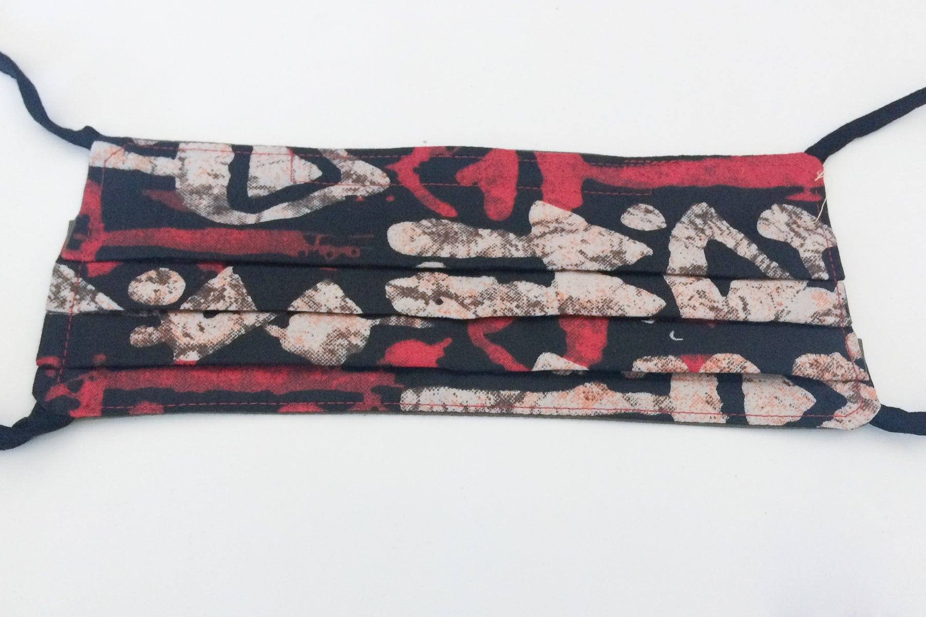 Double Sided Face Covering: Red and nude (dark straps)