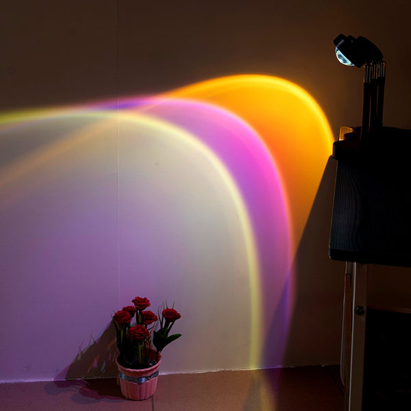 USB Button Colorful Lamp Rainbow Sunset LED Light Projector