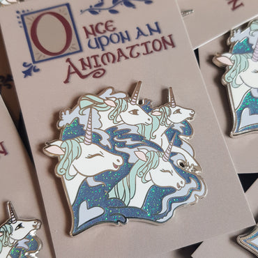 The Last Unicorn 'Once Upon An Animation' Silver Hard enamel Pin with Glitter