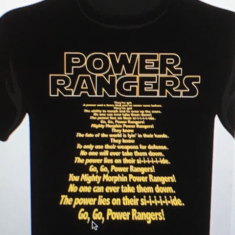 """Power Rangers Theme Song"" Star Wars Inspired Next Level Unisex Tee Black/Gold"