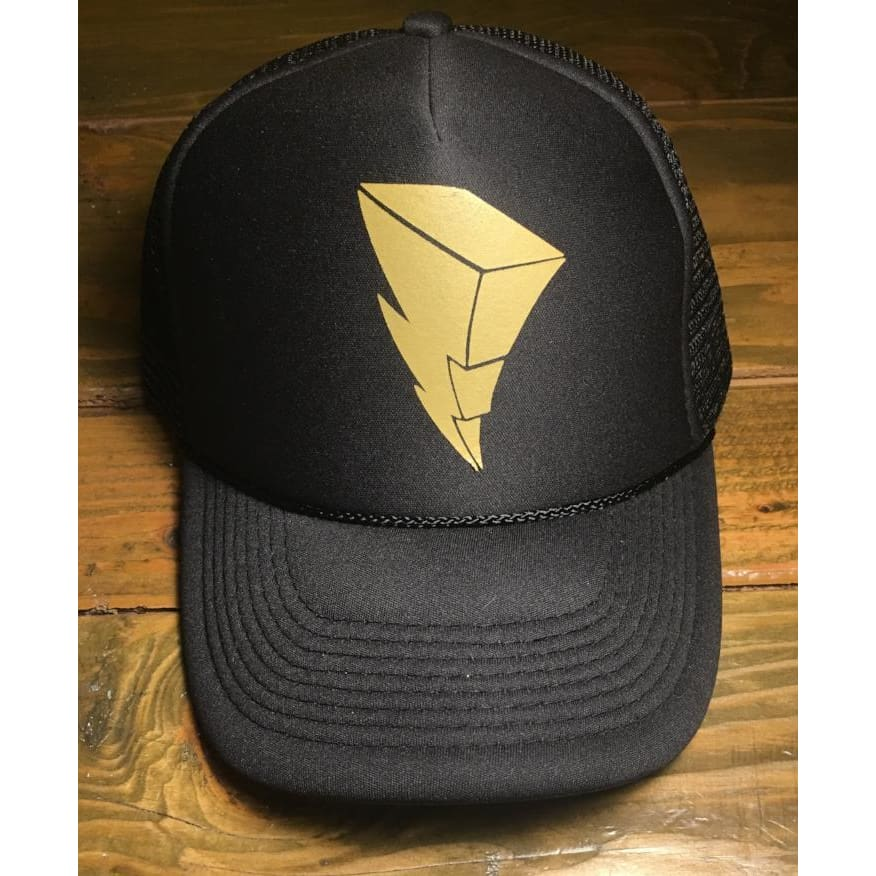 Power Ranger Lightning Bolt Trucker Hat Vegas Gold/black - Hats