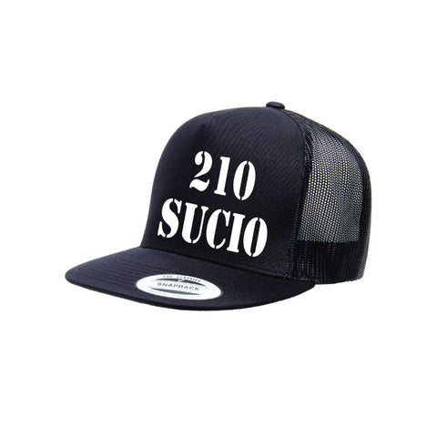 "SUCIOWEAR OFFICIAL ""210 SUCIO"" Yupoong Adult 5-Panel Classic Trucker Cap Black/White"