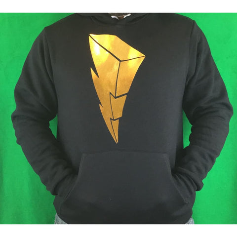 "SUCIOWEAR OFFICIAL! ""Gold Foiled Power Ranger Lightning Bolt""  Unisex Pullover Hoodies Gold Foil/Black"