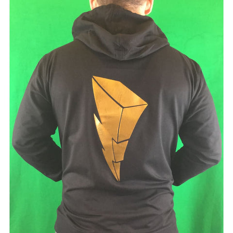 "SUCIOWEAR OFFICIAL  ""Gold Foiled Power Ranger Lightning Bolt""  Unisex Zip Hoodies Gold Foil/Black"