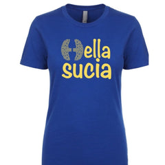 SUCIOWEAR OFFICIAL Hella Sucia Royal Blue/Gold Ladies Crew Neck/Racerback Tanks - T-shirt