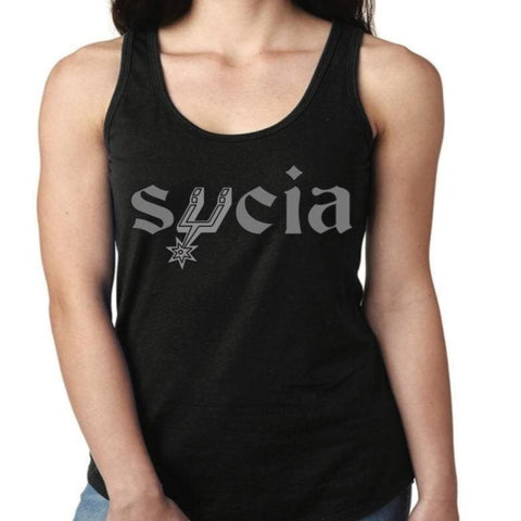 "SUCIOWEAR OFFICIAL ""SPURS PARODY SUCIA"" Next Level Ladies Tank Silver/Black"
