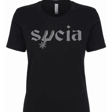 "SUCIOWEAR OFFICIAL ""SPURS PARODY SUCIA"" Next Level Ladies Tee Silver/Black"
