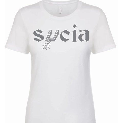 "SUCIOWEAR OFFICIAL ""SPURS PARODY SUCIA"" Next level Ladies Tee Silver/White"