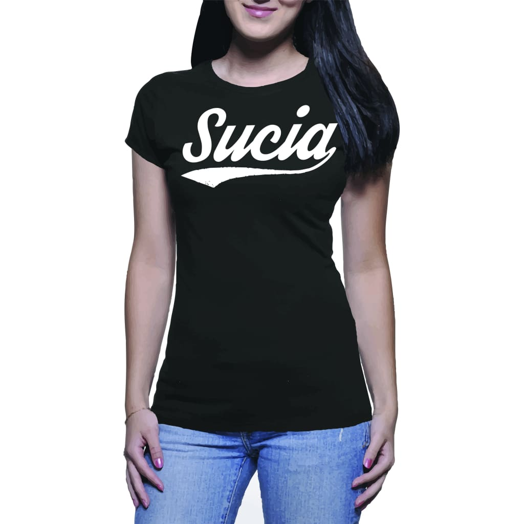 Suciowear Official Sucia Baseball Font Next Level Ladies Tee Black/white