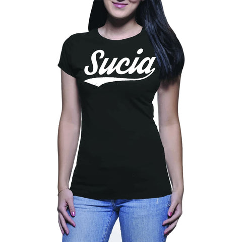 "SUCIOWEAR OFFICIAL ""SUCIA"" Baseball font Next Level Ladies Tee Black/White"