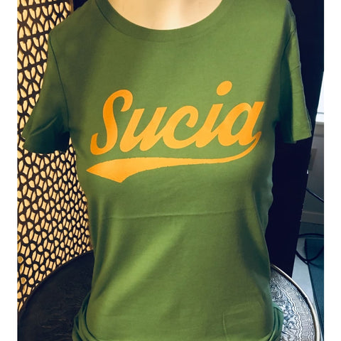 "SUCIOWEAR OFFICIAL ""SUCIA"" Baseball Font  Next Level Tees Athletic Green/Gold"