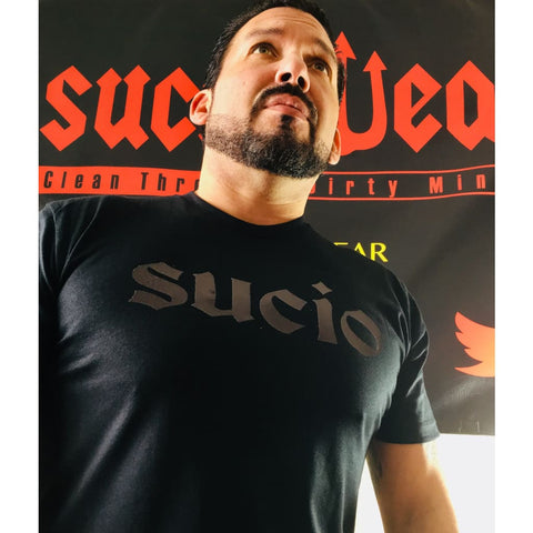 "SUCIOWEAR OFFICIAL ""Sucio"" Metallic Black/Black Unisex Next Level Tees"