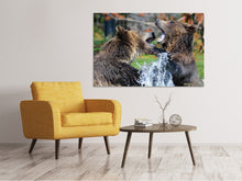 Lade das Bild in den Galerie-Viewer, Leinwandbild Grizzly Kampf