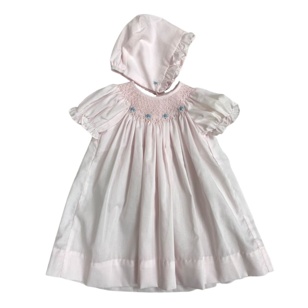Pink Smocked Daydress with Blue Roses