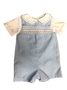 Blue Microcheck Smocked Romper/2751/3751